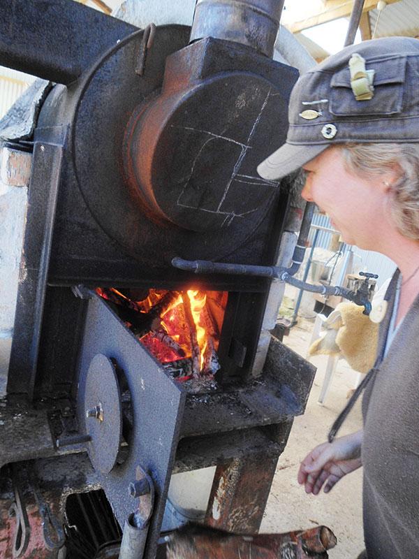 Elsa Stoking the Boiler